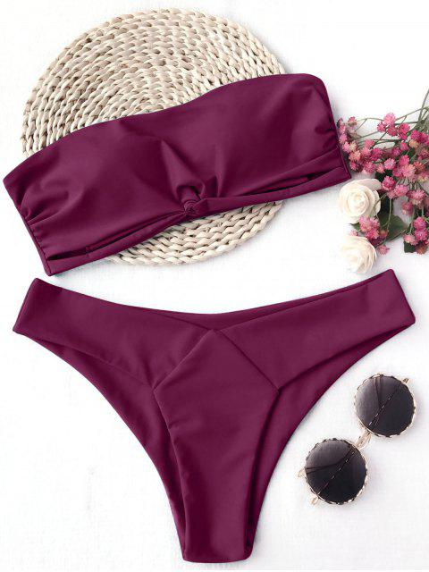 unique Knot Padded Bandeau Bikini Set - BURGUNDY S Mobile