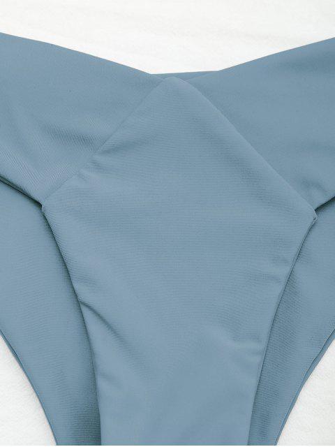 shop Knot Padded Bandeau Bikini Set - BLUE M Mobile