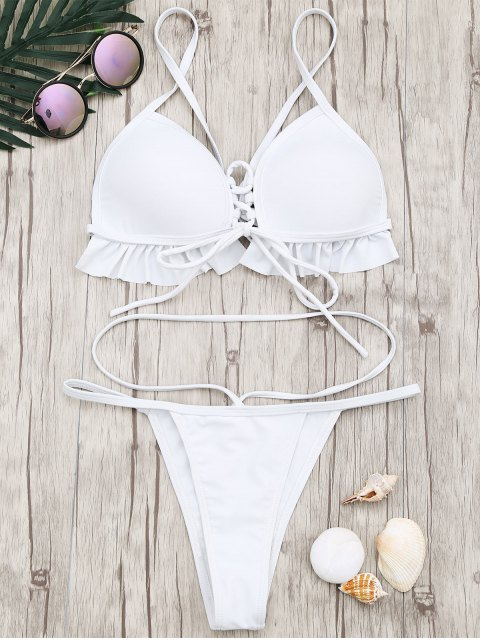 new Frilled Molded Cup Thong Bikini Set - WHITE M Mobile