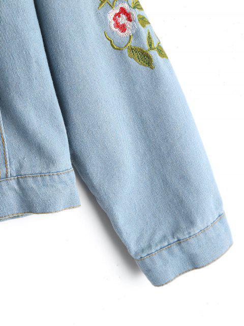 online Button Up Floral Embroidered Denim Jacket - LIGHT BLUE M Mobile