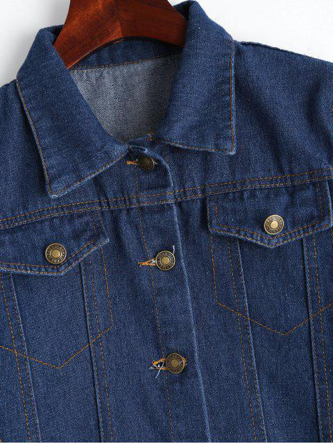 outfit Button Up Floral Embroidered Denim Jacket - DEEP BLUE XL Mobile
