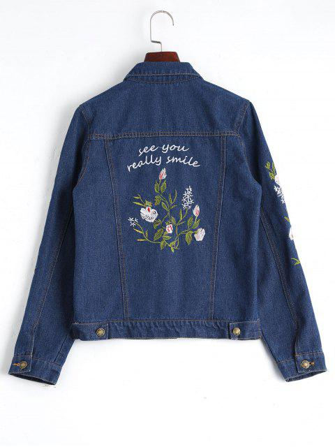 outfits Button Up Floral Embroidered Denim Jacket - DEEP BLUE L Mobile