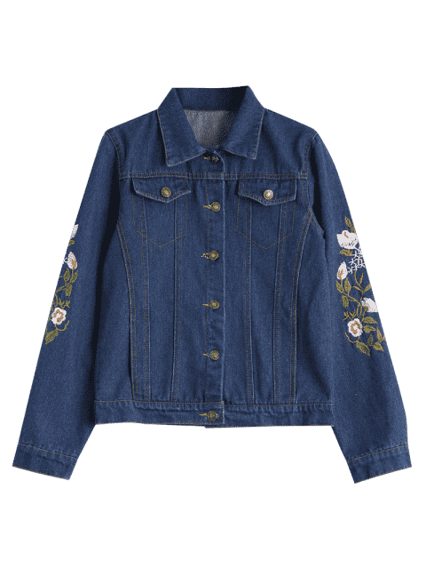 shops Button Up Floral Embroidered Denim Jacket - DEEP BLUE S Mobile