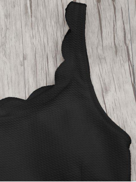 womens Scalloped High Waisted Bralette Bikini Set - BLACK L Mobile