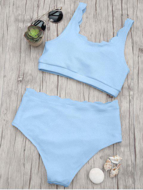 ladies Scalloped High Waisted Bralette Bikini Set - LIGHT BLUE L Mobile
