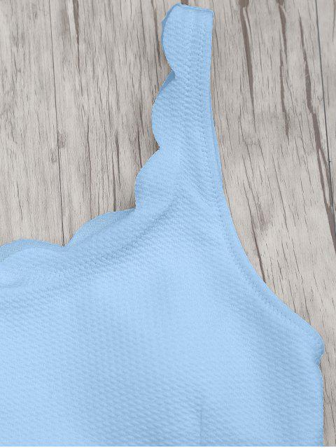best Scalloped High Waisted Bralette Bikini Set - LIGHT BLUE S Mobile