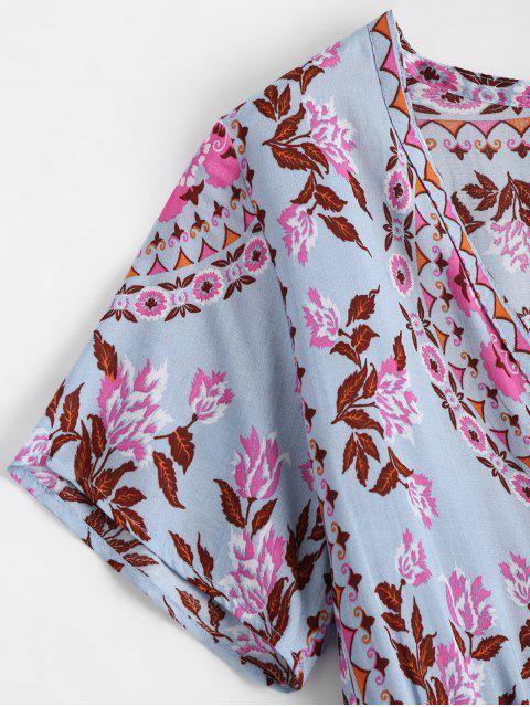 new Plunging Neck Floral Print Dress - FLORAL L Mobile