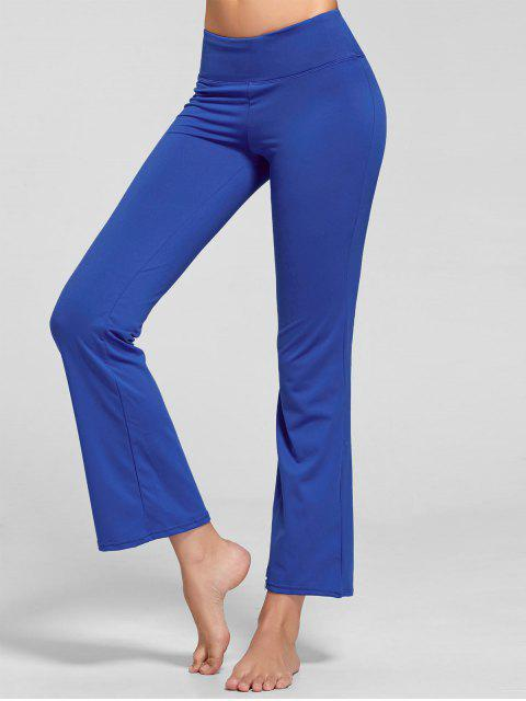 chic Stretch Bootcut Yoga Pants with Pocket - BLUE L Mobile