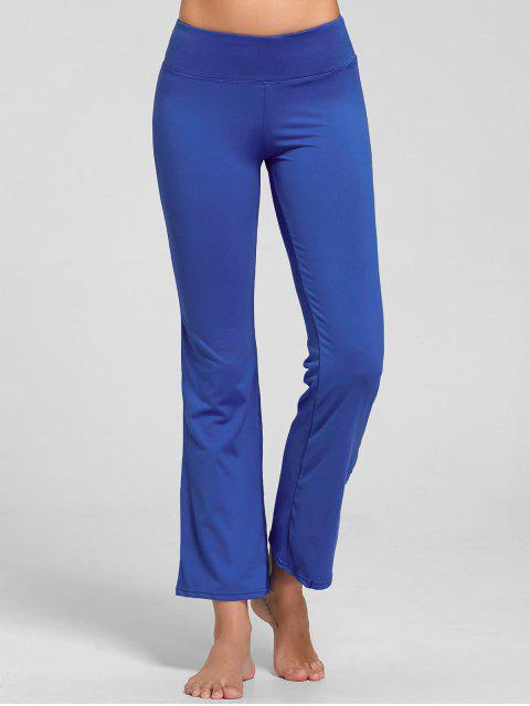 fancy Stretch Bootcut Yoga Pants with Pocket - BLUE M Mobile