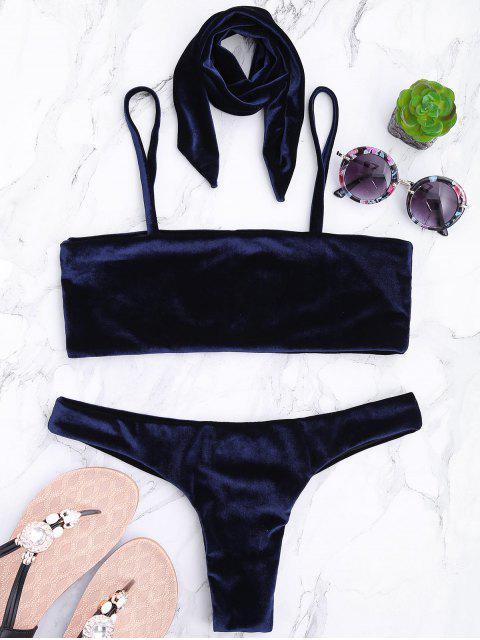 best Velvet Bowknot Spaghetti Strap Bikini Set - CERULEAN S Mobile