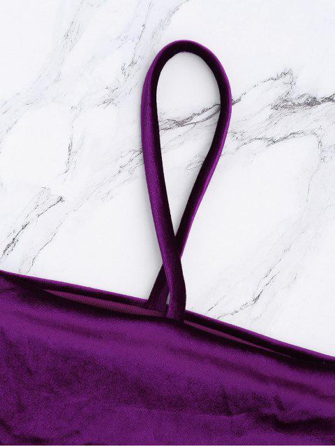 affordable Velvet Bowknot Spaghetti Strap Bikini Set - DEEP PURPLE M Mobile