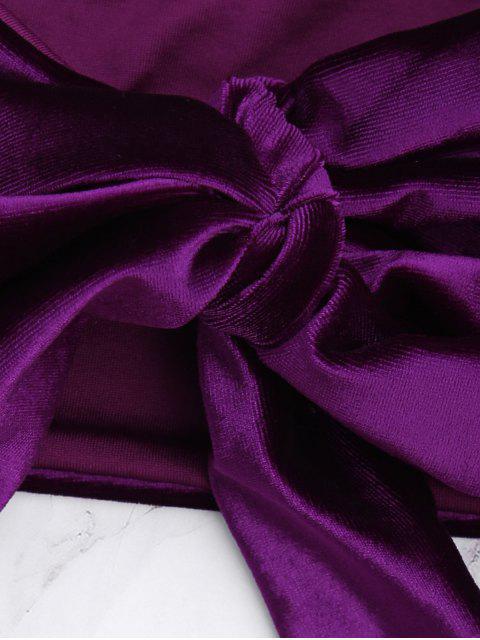 womens Velvet Bowknot Spaghetti Strap Bikini Set - DEEP PURPLE L Mobile