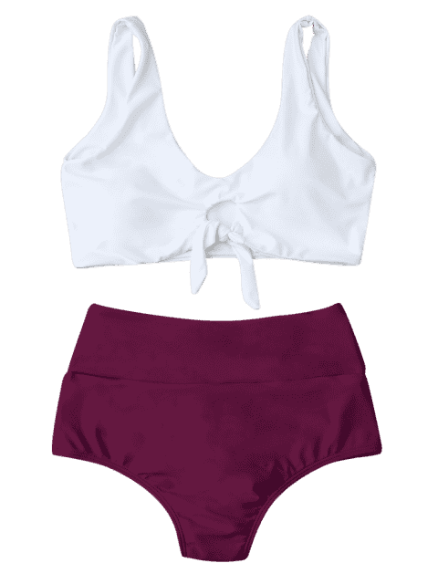 hot Knotted High Waisted Ruched Bikini Set - PURPLISH RED M Mobile