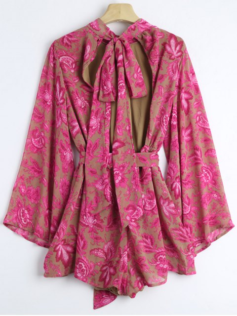 fancy Floral Belted Bowknot Cut Out Romper - FLORAL L Mobile