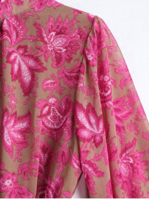 Floral Ceinturé Bowknot Cut Out Romper - Floral M Mobile