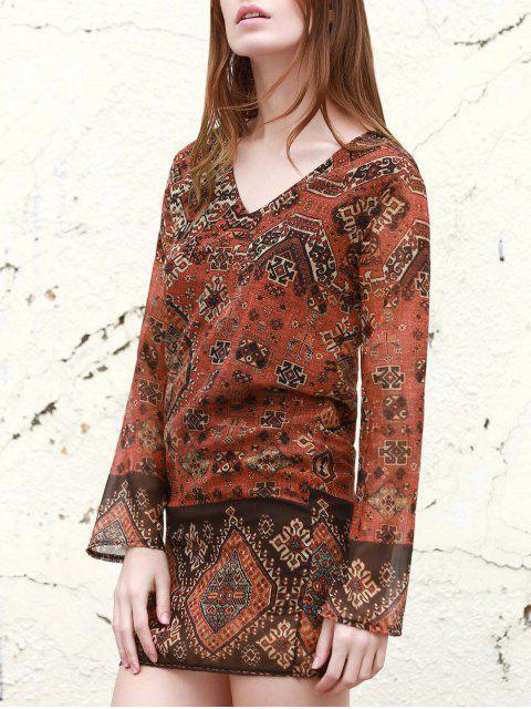 Robe à Manches Longues à Col en V Rivet Décoratif Imprimé pour Femme - Rouge S Mobile