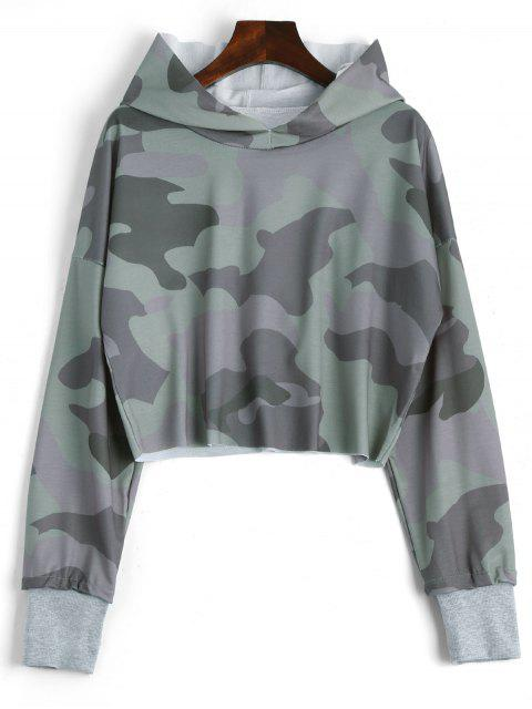 womens Drop Shoulder Camouflage Crop Hoodie - CAMOUFLAGE M Mobile