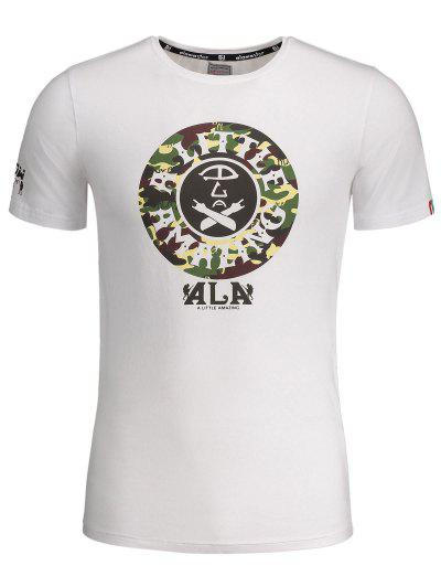 Graphic Print Short Sleeve Camouflage Tee - White 3xl