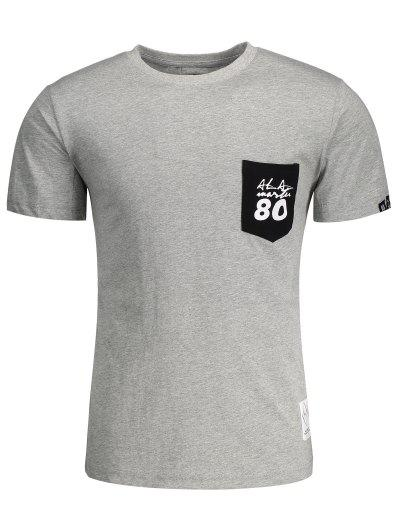Short Sleeve Pocket Patch Letter T-shirt - Gray 3xl