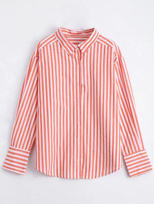 Button Up Striped Longline Shirt - Orange L