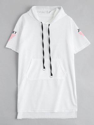 Vestido Encapuchado De Lazo De La Impresión De La Letra - Blanco L