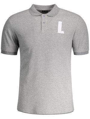Shirt Neck L Pattern Short Sleeve Tee - Gray 2xl