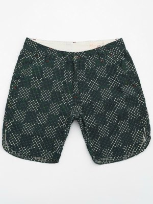 Mens Embroidered Cotton Bermuda Shorts - Green 36