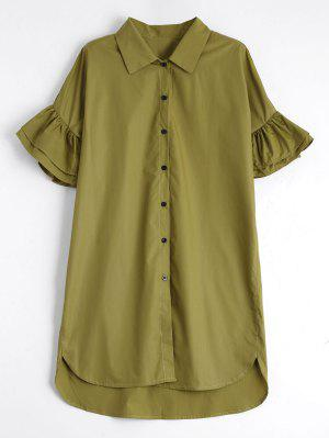Button Up Tiered Flare Sleeve Dress - Celadon L