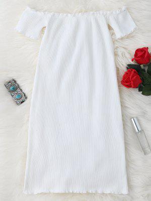 Schulterfreies Mini enges Kleid mit Rüschen