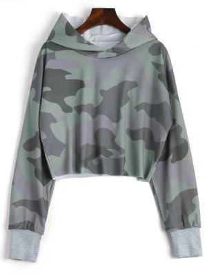 Drop Shoulder Camouflage Crop Hoodie - Camouflage L