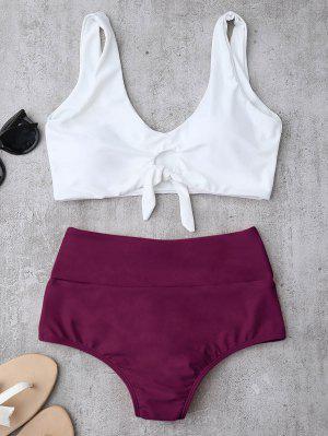 Knotted High Waisted Ruched Bikini Set - Purplish Red Xl