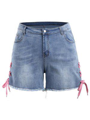 Lace Up Denim Mini Plus Size Shorts