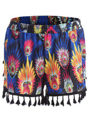 Tassel Feather Print Plus Size Mini Shorts