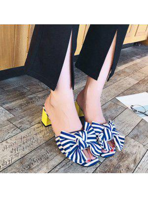 Striped Mid Heel Bow Slippers