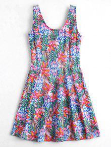 U Neck Floral Print Sleeveless Dress - Floral L