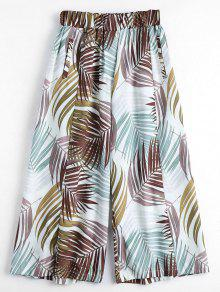 Leaves Print Culotte Pants - Multi L