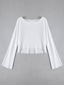 Long Sleeve High Low T-shirt - White M