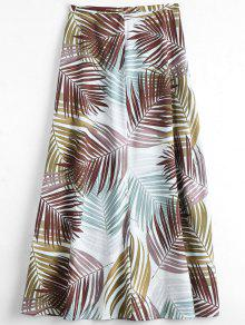 Leaves Print Maxi Flare Skirt - Multi L
