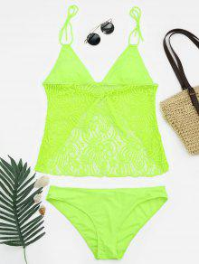 Lace Plus Size Tankini Bathing Suit - Neon Green Xl