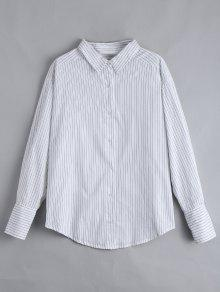 Drop Shoulder Button Up Striped Shirt - White L