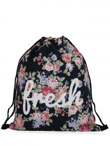 Nylon Printed Drawstring Bag - Black