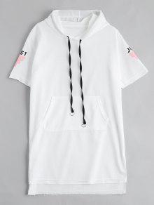 Letter Print Slit Drawstring Hooded Dress - White S