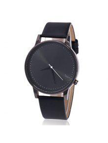 ساعة شريطها بجلد اصطناعي  - أسود