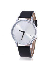 ساعة شريطها بجلد اصطناعي  - أسود + فضي