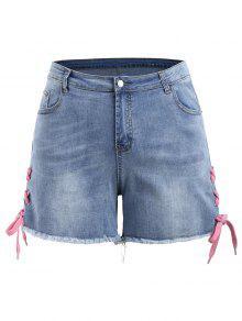 Pantalones Cortos Con Cordones De Mezclilla Más Tamaño - Denim Blue 5xl