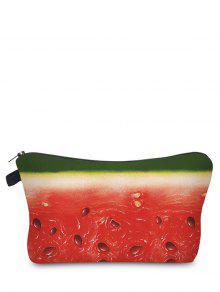 الفاكهة طباعة حقيبة ماكياج - أحمر