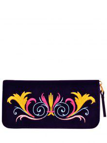 Zip Around Embroidered Velvet Wallet - Purple