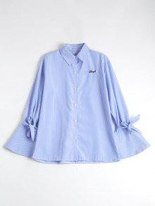 Button Up Flare Sleeve Striped Shirt - Blue Stripe L