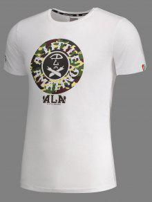 Impresi Gr Xl 243;n Manga De De 225;fica Camiseta Camuflaje De Blanco Corta Yf8yq
