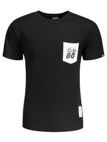 La 2xl La Corta Bolsillo Del Remiendo Letra Manga Negro Camiseta Del De De xUBHw76